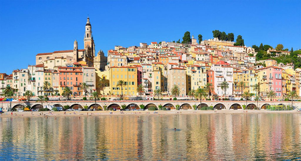 Panoramic view of Menton, a commune in the Alpes-Maritime, copyright Tobi_87 wikimedia.orgs department in the Provence-Alpes-Côte d'Azur region in southeastern France,